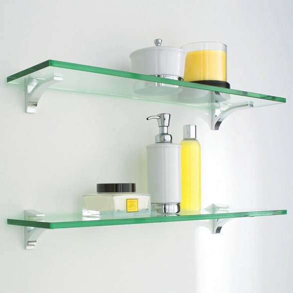 Glass shelves for bathrooms